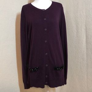 Simply Vera Vera Wang Purple Cardigan